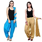 Bottomline Patiala Salwars and Dupatta Set Combo(Free Size, Sky & Skin)