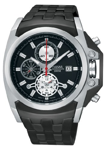 Pulsar PF3843X1 Gents Chronograph Black Rubber Strap Watch