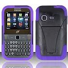 Samsung S390g (StraightTalk/Net 10/Tracfone) - HYBRID Dual Heavy Duty Hard Case and Soft Silicone Skin Cover w/ Kickstand - Purple HYB