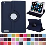 HDE 360° Rotating Leather Folio Case and Stand with Sleep/Wake Feature for iPad 2/3/4 (Navy Blue)