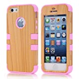 Super Spiderman Fashion Vivid Wooden Print New Dual Layer Protection ( PC + Silicone ) Hybrid Back Case Cover for Apple iPhone 5 5s 5g with Apple Logo Cutout ( Inner Pink )