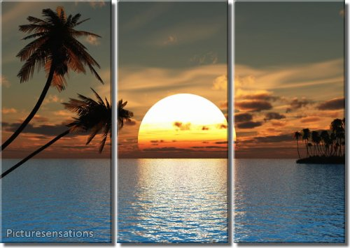Picture Sensations Framed Huge 3-Panel Tropical Palm Tree Sunset Peace Giclee Canvas Art