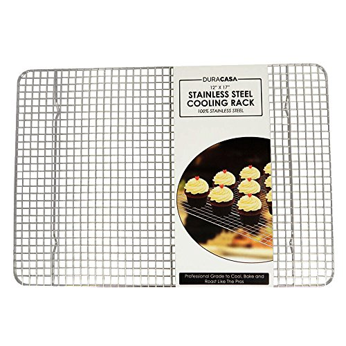 Baking Rack – Cooling Rack – Stainless Steel 304 Grade Roasting Rack – Heavy Duty Oven Safe, Commercial Quality Cooling Racks For Baking – Fits Perfectly in Half Sheet Pan – Metal Wire Grid Rack Design – Lifetime Guarantee (12″ X 17″)