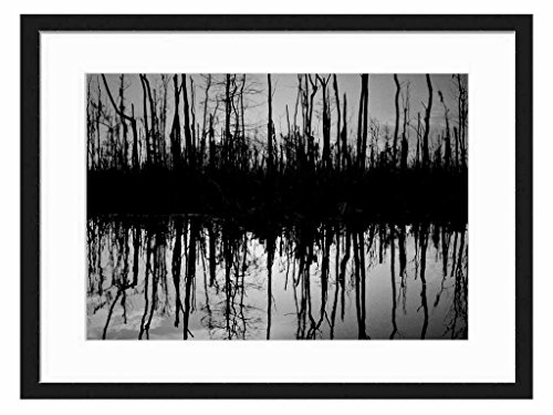 silhouette reflection - Art Print Wall Solid Wood Framed Picture (Black & White 20x14 inches)