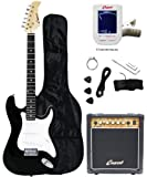 Crescent Electric Guitar Starter Kit - Black Color (Includes Amp & CrescentTM Digital E-Tuner)
