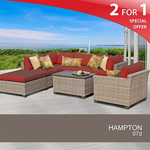 Hampton 7 Piece Outdoor Wicker Patio Furniture Set 07d