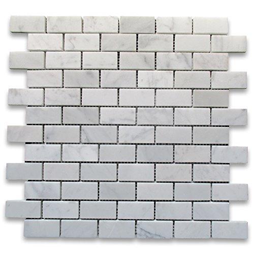 Carrara White Italian Carrera Marble Subway Brick Mosaic Tile 1 x 2 Honed