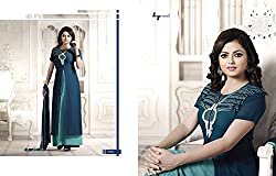 Shayona Women's Faux Georgette Unstitched Dress Material (AS413D77_Blue_Free Size)