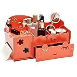 T-Queen DIY Wooden Struction Smiling face Multi-function Roll Tissue Napkin Box Holder and Makeup Cosmetic Jewelry Storage Box Organizer Caddy (Orange)