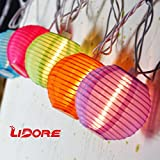 LIDORE Set of 10 New Multi-color Chinese Style Mini Nylon Lantern String Light for Party - Patio - Home - Christmas Decoration