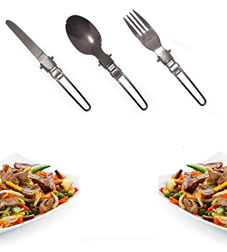 FREE WOLF 3 pcs Portable Creative Compact Folding Spoon Knife Fork Utensils Set Travel Camping Kit Classic