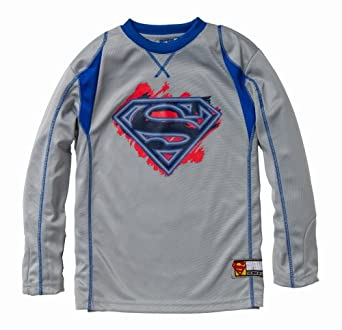 Superman Long Sleeve Poly Pique Crew Neck Ringer Jersey w/ 3D Screenprint in Gray Size: 14/16