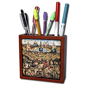 3dRose ph_130134_1 Garden of Earthly Delights by Hieronymus Bosch-Tile Pen Holder, 5-Inch