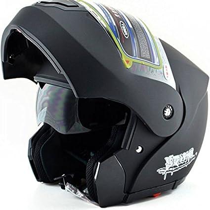 Noir Moto Full Face Flip Up Casque Bouclier double pare-soleil anti-brouillard Taille gratuit
