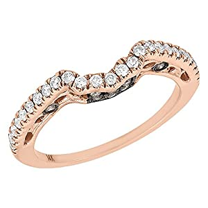 14K Rose Gold Round Cut Brown & White Diamond Solitaire Engagement Ring Curved Enhancer 0.33 Cttw