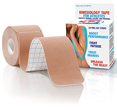 Kinesiology Tape - 20 Pre-cut Strips , Nude , with Bonus eBook (Chicago Roller Blades compare prices)