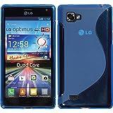 Silikon Hülle LG Optimus 4X HD P880 - Blau - PhoneNatic Hard Case Cover Hülle Schutzhülle + Schutzfolie