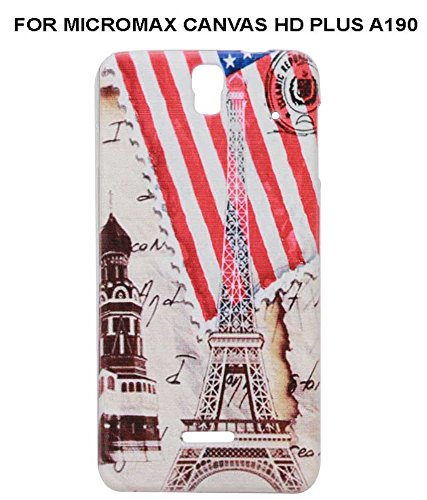 JKOBI(TM) Exclusive Rubberised Back Case Cover For MICROMAX CANVAS HD PLUS A190-American flag with Tower