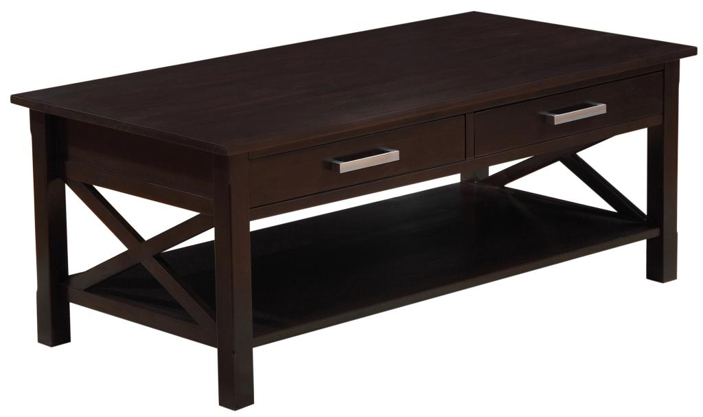 Simpli Home Kitchener Coffee Table Dark Walnut Brown