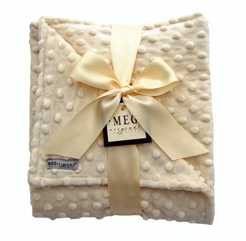 Meg Original Vanilla Cream Minky Dot Baby Blanket back-487654