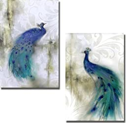 Jewel Plumes I & II by J. P. Prior 2-pc Premium Stretched Canvas Set (Ready to Hang)