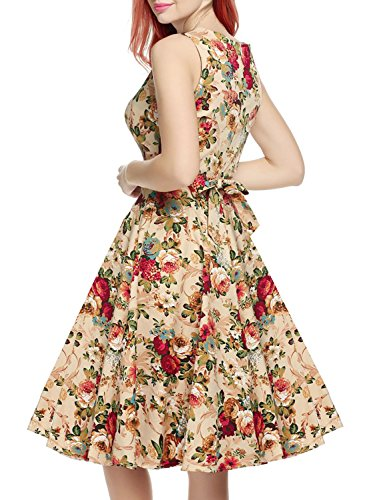 OWIN Women's Vintage 1950's Floral Spring Garden Picnic Dress Party Cocktail Dress 4
