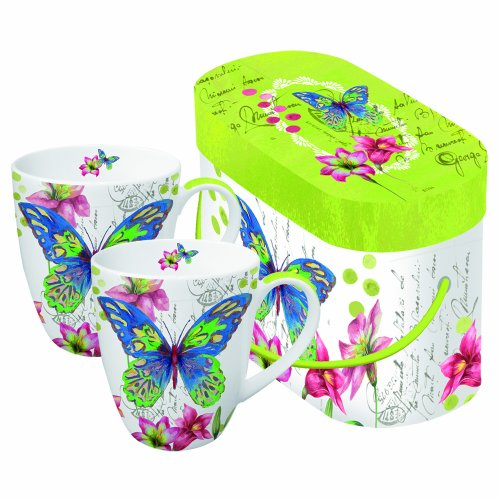 Paperproducts Design 602214 Gift Box Porcelain Mugs, 14-Ounce, Aporia Butterfly, Set Of 2