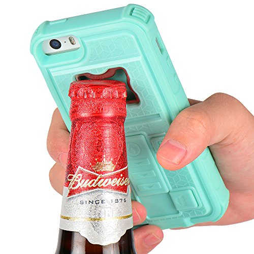 iPhone 5s Case, ZVE® Multifunction with Cigarette Lighter/Bottle Opener/[Heavy Duty] for Apple iPhone SE (2016) & iPhone 5S 5 (mint green)