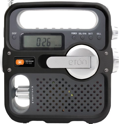 LEXTRONIX - FR360 Solarlink - Radio digital AM / FM / Kurzwellen-self-powered von Dynamo-und Solar-Panel mit LCD-Display, Wecker, Taschenlampe und Handy-Ladegerät USB