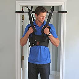 Sit and Decompress | The Ultimate Lumbar Stretcher and Lumbar Traction - Increase your disc space by 20% instantly while in use. Version 3.0 (Large Harness with Chin up bar (Complete Package))