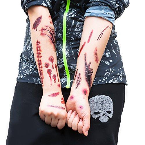 Tattoos Narben Wunden Horror Ritzen Helloween - 40 realistisch aussehende Motive