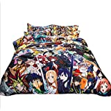 Bedding 4 Piece Anime Character Jigsaw Set Cartoon Comfy Cotton Hypoallergenic Bedspread Sets for Kids Boys Teens,1.5M (Color: Color, Tamaño: 1.5M)