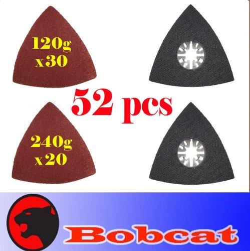 52 Pcs Triangular Sanding Kit Sanding Pad W/ Velcro Oscillating Multi Tool Saw Blades Sand For Fein Multimaster Bosch Multi-X Craftsman Nextec Dremel Multi-Max Ridgid Dremel Makita Chicago