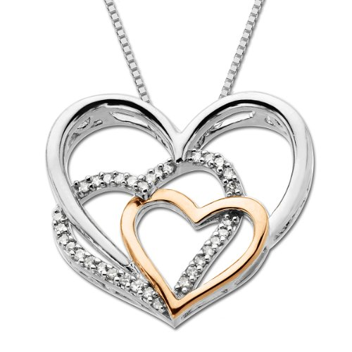 Sterling Silver and 14k Pink Gold Diamond Triple Heart Pendant, 18