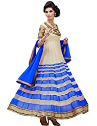 Zohraa Cream And Blue Faux Georgette Anarkali Suit SalJSSB-IC-5
