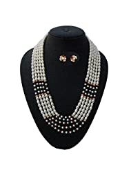 Nisa Pearls Traditional Pearls Necklace Set Adorned With CZ And Green And Red Color Stones - B00S1H5W2K