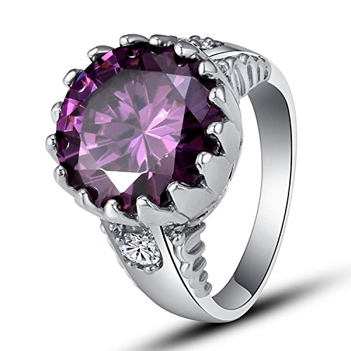 Psiroy 925 Sterling Silver Grace Womens Band Charms 14mm*14mm Round Cut amethyst Filled Ring