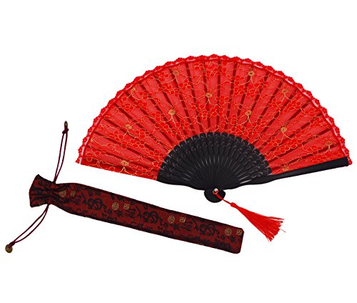 Amajiji Chinese /Japanese Vintage Retro Style Bamboo Wood Silk Folding Hand Fan for women HBSY (23cm) (003)