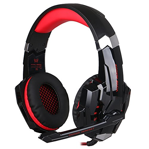 easysmx [New Version Gaming Headset for PS4] KOTION Each G9000 Stereo Wired Gaming Headset Headphones with Mic Noise Cancellation LED Lamp and In-Line Controller Compatible for PS4, PC, Laptop, Tablets, and all Smartphones Black Noir+Rouge