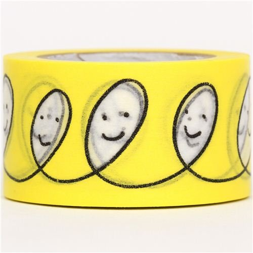 yellow mt Washi Masking Tape deco tape line with smiley face