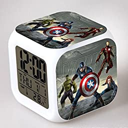 ENJOY LIFE : Cute Digital Multifunctional Alarm Clock With Glowing Led Lights and The Avengers Hulk Capitan America Iron Man sticker, Good Gift For Your Kids , Comes With Bonuses Part 2 (18)