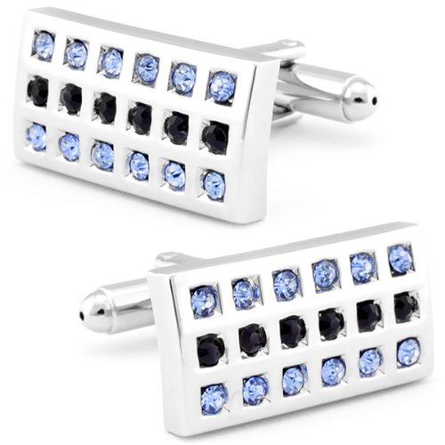 Black and Sky Blue CZ Crystal Cuff Links-CL-0043