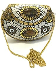 Nakkashee Latest Rajasthan Handcrafted Metal And White Stone & Different Stone Sling Bags