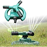 Generic 360 Degree Fully Rotating Water Sprinkler 3 Nozzles Garden Pipe Hose Irrigation Spray Grass Lawn Watering