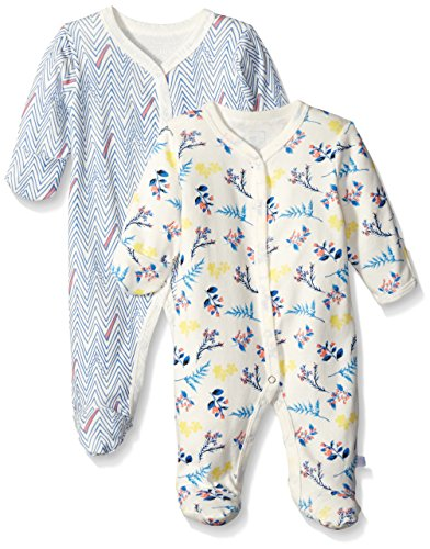 Rosie Pope Baby 2-Pack Sweet For Spring Floral and Chevron Coveralls, Blue, 0-3 Months