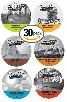 30-Count Single Serve Cups For Keurig K-Cup Brewers Flavored Brooklyn Variety Pack Featuring Brooklyn Beans Hazelnut, Vanilla Skyline, Maple Sleigh, Coney Island Caramel, Cinnamon Subway, And Oh Fudge! Cups front-296230