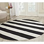 Safavieh Montauk Collection MTK712D Handmade Flatweave Black and Ivory Cotton Round Area Rug (4 Diameter)