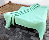 Mint Green Quilted Bedspread Stripe Pattern Cotton Kantha Quilt 100% Cotton 90x108 Inches