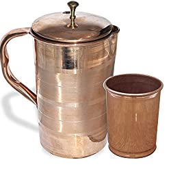 AsiaCraft Elegant Pure Copper Jug with Lid with Pure Copper Tumbler