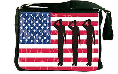Rikki Knighttm Us Army Silhouettes On American Flag Background Messenger Bag - Shoulder Bag - School Bag For School Or Work front-577848